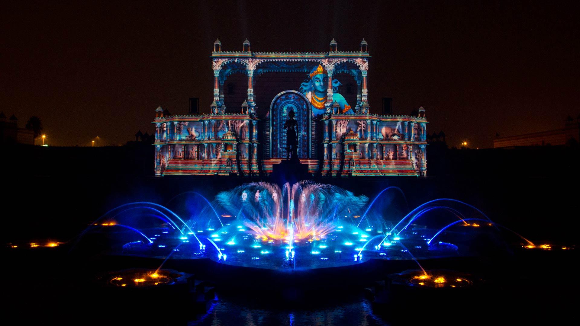 Kết quả hình ảnh cho akshardham-temple-laser-show