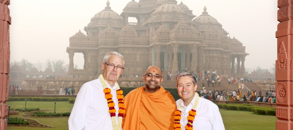 Canadian Minister of Transport Honourable Marc Garneau (L) and Canadian Minister of International Trade Honourable François-Philippe Champagne (R) at Swaminarayan Akshardham in New Delhi