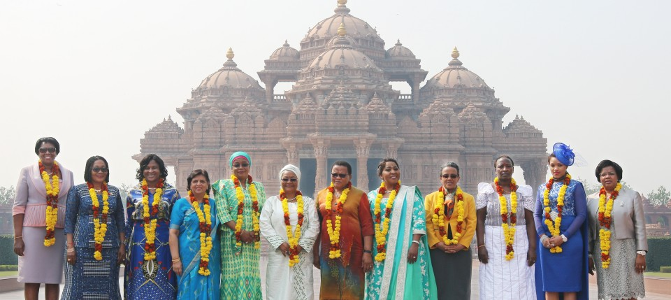 12 African Nations' First Ladies at Swaminarayan Akshardham Mandir, New Delhi