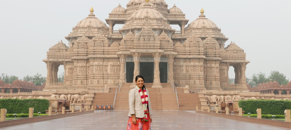 British Secretary of State for International Development The Rt Hon Priti Patel MP Visits Swaminarayan Akshardham in New Delhi