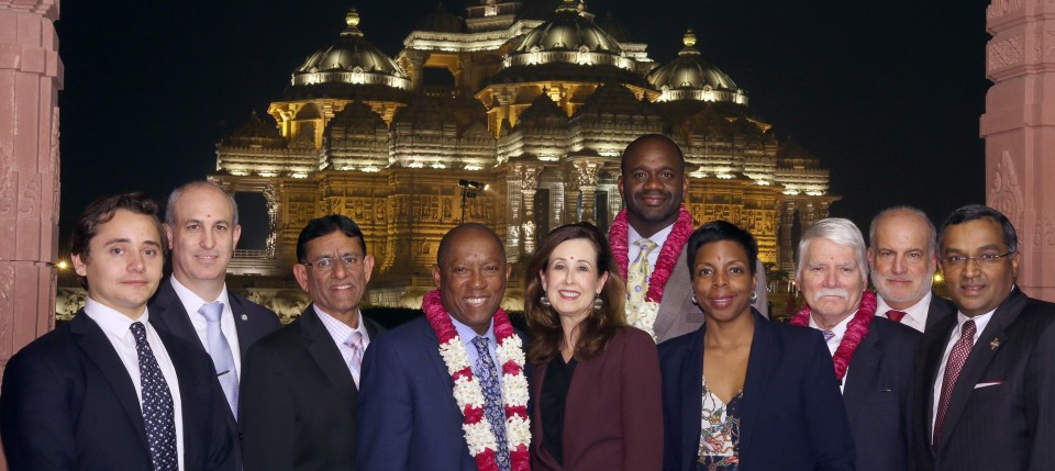 Houston Mayor Sylvester Turner and delegation visits Swaminarayan Akshardham, New Delhi